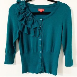 Elle Cardigan with Floral and Ruffle Detailing